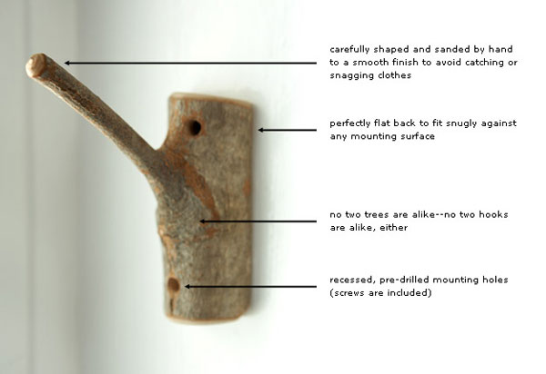 Rustic Wooden Hooks Design